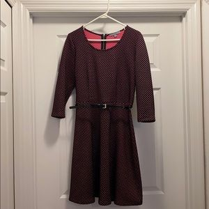 EUC NY Collection Belted Polka-Dot Dress, Size M